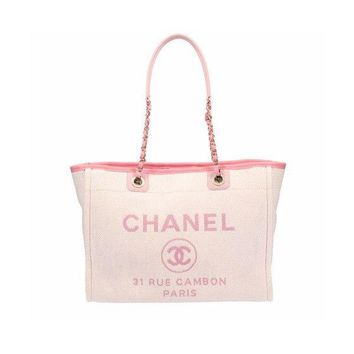 CHANEL Deauville Tote Chain Bag RUS CAMBON Canvas Women Luxury Pink Auth New