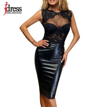 IDress Summer 2018 Latex New Robe Femme Sexy Sheer Lace Dress Open Back Patchwork Knee Length Bodycon Evening Party Black Dress