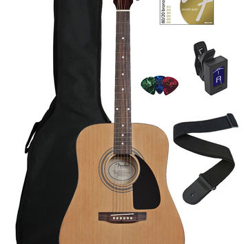 Fender FA-100 Dreadnought Acoustic Guitar Bundle with Gig Bag Tuner Strap Picks Strings - Natural