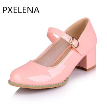 PXELENA Korean Sweet Lolita Mary Janes Shoes Women Round Toe Patent Leather Chunky Block High Heels Ladies Pumps Plus Size 34-43