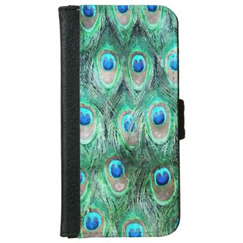 Peacock Feathers Exotic Wild Watercolor Pattern iPhone 6/6s Wallet Case