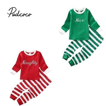 2PCS Little Kids Xmas Stripe Pajamas Pjs Baby Boy Girl Long Sleeve Top Striped Pants Christmas Clothing Outfit Costume 1-6T