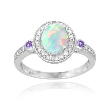 Glitzy Rocks Sterling Silver Opal, Amethyst and Diamond Oval Ring (I-J, I2-I3) 7/8 carat TGW | Overstock.com Shopping - The Best Deals on Gemstone Rings