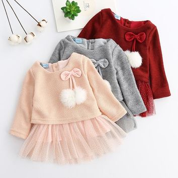 Girls Dresses Long Sleeved Tutu Bow Ruffles / 5 color options / 6-24M