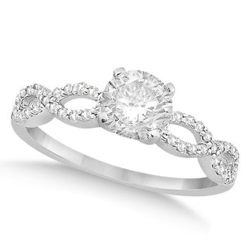 Petite Antique-Design Diamond Engagement Ring 14k White Gold (0.50ct)