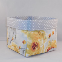 Gray And Yellow Floral Fabric Basket For Storage Or Gift Giving