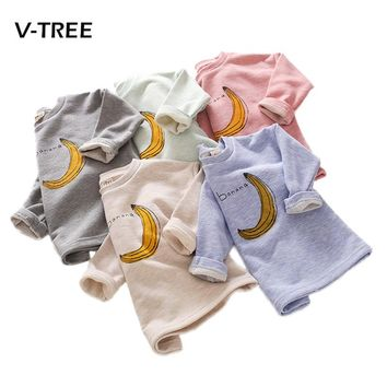 New autumn winter baby boys girls t shirt outwear cotton sleeve sweatshirt for boys banana print outwear tops baby clothes 2-7 Y