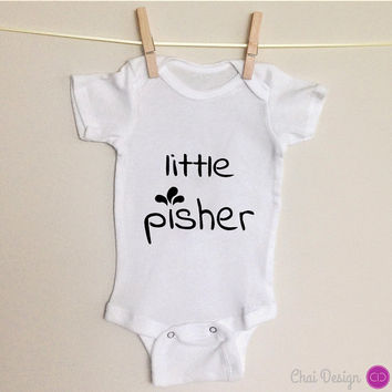 Funny baby wear one piece. Little Pisher. Infant newborn bodysuit. Jewish hebrew yiddish. Silly special gift for new mom. Baby shower gift.