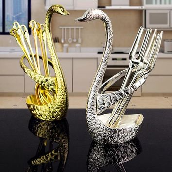 7pcs Swan Rack Fruit Forks Restaurant Elegant Tableware Practical Cake Dessert Snack Forks Gift Set