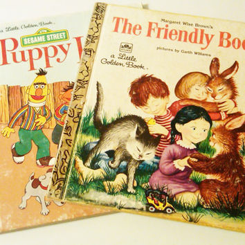 Vintage Little Golden Books, The Friendly Book, Puppy Love featuring Sesame Street Muppets, Bert and Ernie, Cars and trains, Stars & Snow