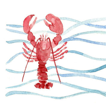 Red Lobster art print of original watercolor painting. Lobster and waves Stripes, nautical, marine, cottage chic, coast, beach. fishing