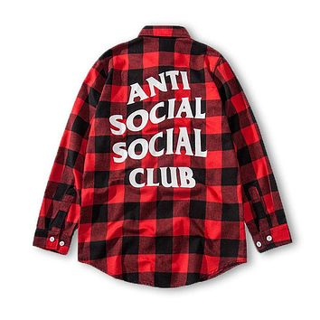 ANTI SOCIAL SOCIAL CLUB Street Tide brand retro wild plaid back letter loose long sleeve shirt Red