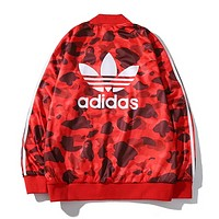 Adidas & Bape Aape Autumn And Winter Fashion New Bust And Leaf Letter Print Women Men Long Sleeve Coat Red