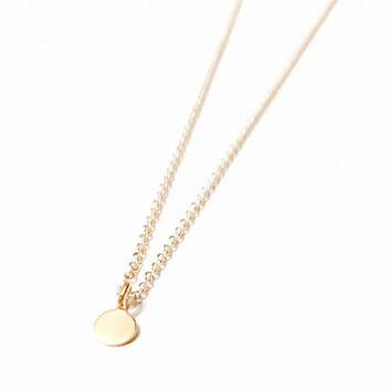 Little Dot 24K Gold over Sterling Silver Layering Necklace - Tiny Charm - Little Circle - Round Gold Charm, Little Disc