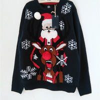 Funny Ugly Christmas Sweaters with Santa Claus Rudolph the Red Nose Reindeer Snowflake Pattern S-XL