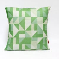 "Vintage fabric cushion cover, 70's, retro, geometric throw pillow, 16"" x 16"""