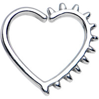 "16 Gauge 3/8"" Spiked Heart Closure Daith Cartilage Tragus Earring 