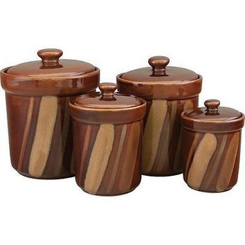 Canister Set Brown Neutral Tone Stoneware 4 Pce Flour Sugar Tea Storage Kitchen