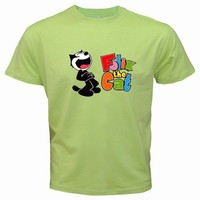 Felix the Cat Cartoon Green Color Tshirt 07 | paradise - Clothing on ArtFire