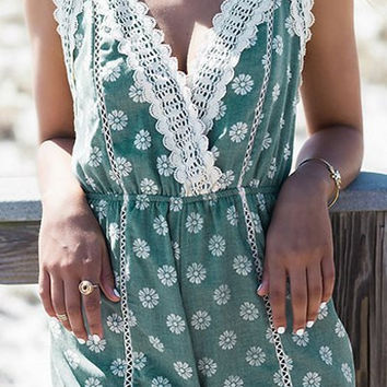Green Floral Print Lace-Paneled Romper