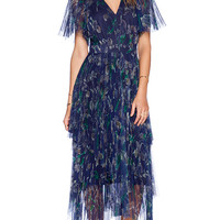 Marchesa Voyage Mesh V Neck Caftan in Blue