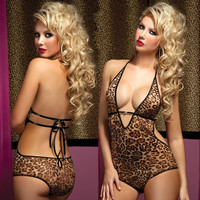 Leopard Lace Sexy Lingerie Costume Petite and Plus Size