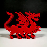 Red Dragon, 3D printed 8 Bit creatures