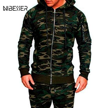 NIBESSER Men Camouflage Tactical Clothing Fashion Camo Printed Jacket Slim Fit Jacket Casual Zipper Jacket Military Coat Autumn