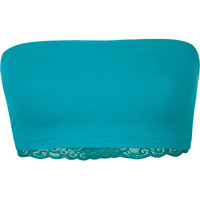 Full Tilt Lace Back Seamless Bandeau Teal Blue One Size For Women 21085124601