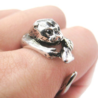 Otter Holding a Fish Shaped Animal Wrap Around Ring in Shiny Silver   US Sizes 4 to 9