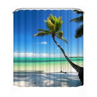3D Print Shower Curtains Coconut Tree Polyester Waterproof Bathroom Shower Curtain Home Decor Bathing Curtain