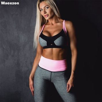 Maoxzon Women's Two Piece Pants Sets Thin Slim Sexy Tracksuits Athleisure Fitness Ioga Workout Bra And Leggings Suits For Female