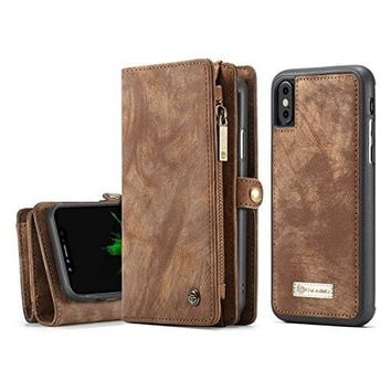 ICE FROG iPhone X Wallet Case, Premium Folio Zipper Purse Leather Detachable Magnetic Case with Flip Credit Card Slots Stand Holder Cover for iPhone X - Brown