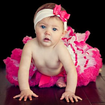 Extra Fluffy White Baby or Toddler Tutu with Hot Pink Trim and Headband with Bow 500Babies