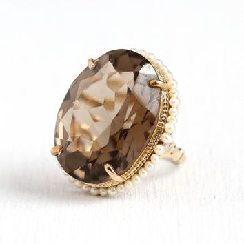 Smoky Quartz Ring - Vintage 14k Yellow Gold 28.30 Carats Brown Gemstone & Pearl Halo - Size 6 1/2 Retro 1960s Fine Huge Statement Jewelry
