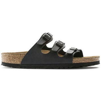 Birkenstock Florida Soft Footbed Birko Flor Black 0053011/0053013 Sandals - Ready Stoc