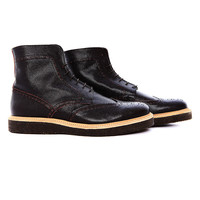 AT85 -  Dark brown textured leather brogue boots with crepe sole