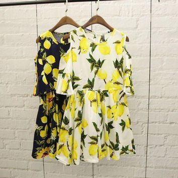 CREYON Day First Summer Stylish Fruit Pattern Printed Dress
