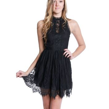Crush Lace Dress - Black