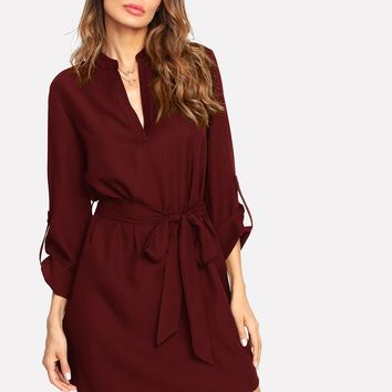 V Neck Self Belted Curved Hem Dress