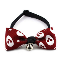 Hot sale! Skull designs Lovable pet head bowtie ornaments bow for dog ,cat hair clips & pins With Bell