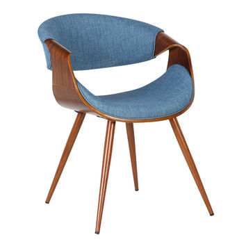 Armen Living Butterfly Mid-Century Dining Chair in Walnut Finish and Blue Fabric