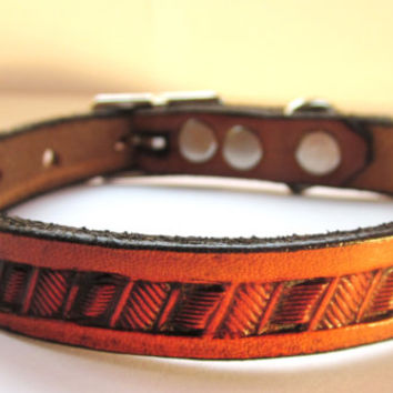 "Hand Tooled Leather Dog Collar 1/2"" wide Antique Tan, Small Dog Collar, Puppy Collar, Tooled Leather Collar"