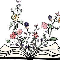 'flowers growing from book ' Sticker by andilynnf