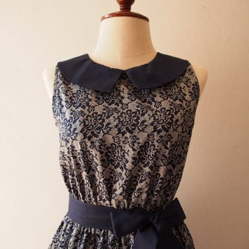 Vintage Style Dress Dark Blue Summer Dress Lace Print Sundress Club dress Collar Sleeveless Bridesmaid Tea Party Dress