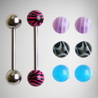 14 Gauge Zebra Punk Barbell with Extra Balls
