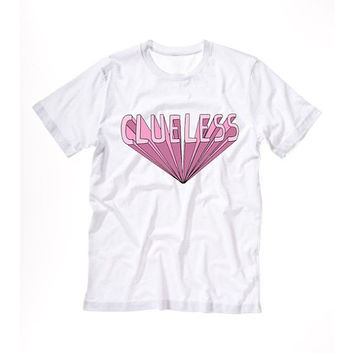 CLUELESS T shirt Tshirt Tee Tumblr blanc unisexe fashion women pink white tee shirt tumblr graphic size S M L - 5sos one directio