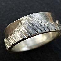 silver mountain range ring, nature wedding ring silver engagement ring, landscape ring, outdoor wedding ring unique, mens mountain ring