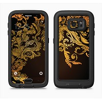 The Gold Floral Vector Pattern on Black Full Body Samsung Galaxy S6 LifeProof Fre Case Skin Kit