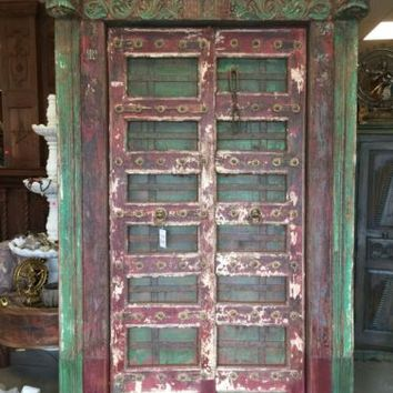 ANTIQUE JAIPUR KRISHNA DOORS INDIA HAND CARVED TEAK GREEN SOUTHERN resort design
